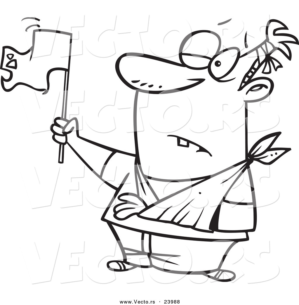 Vector of a Cartoon Beat up Man Surrendering.