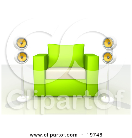Clipart Graphic of a Green And White Chair With Two Surround Sound.