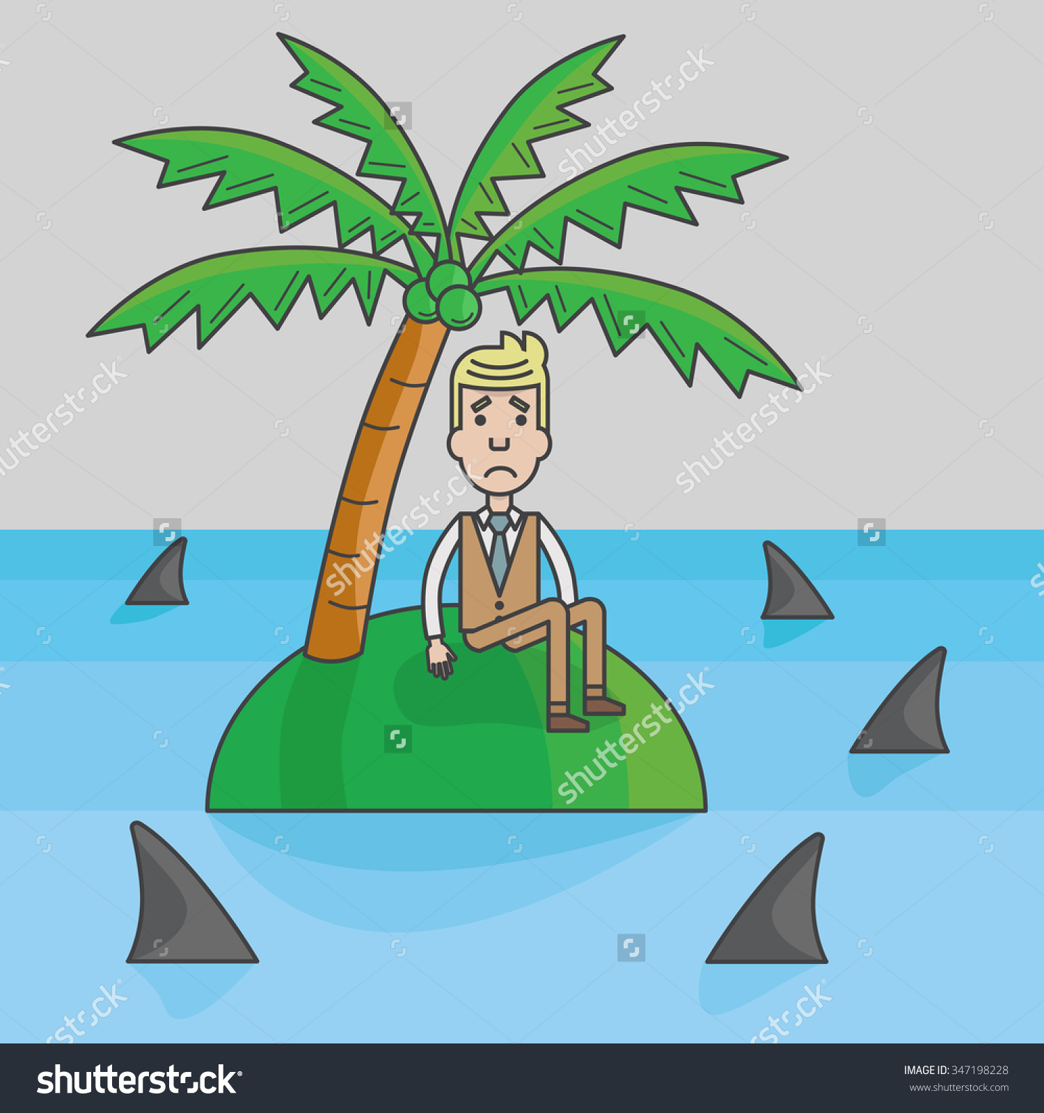 Businessman Trapped On Island Surrounded By Stock Vector 347198228.
