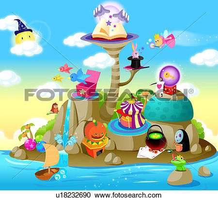 Stock Illustrations of Magical island surrounded by water.