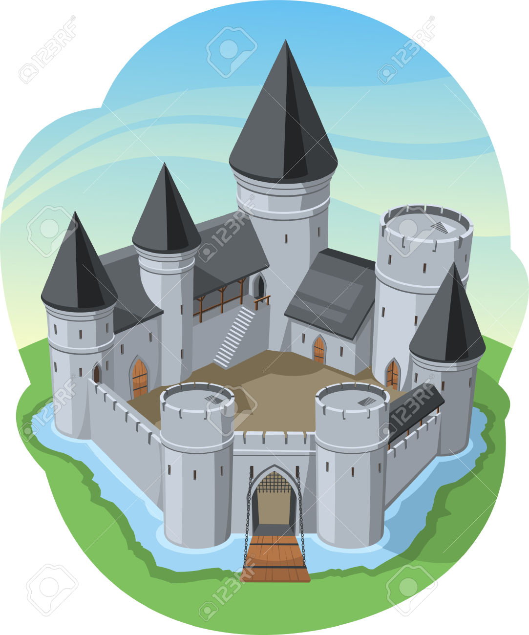 Castle Surrounding Wall Stone Fort, Surrounded By Water Vector.