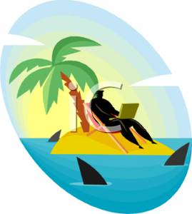 Businessman on a Laptop on a Deserted Island Surrounded By Sharks.