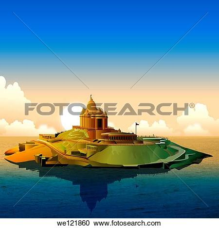 Stock Photography of Temple surrounded by water, Rameshwaram.