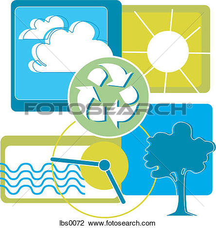 Clip Art of A collage depicting the recycling symbol and a clock.