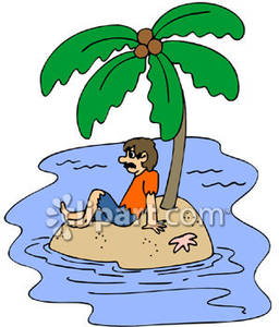 Man Stranded on a Desert Island with a Palm Tree, Surrounded By.