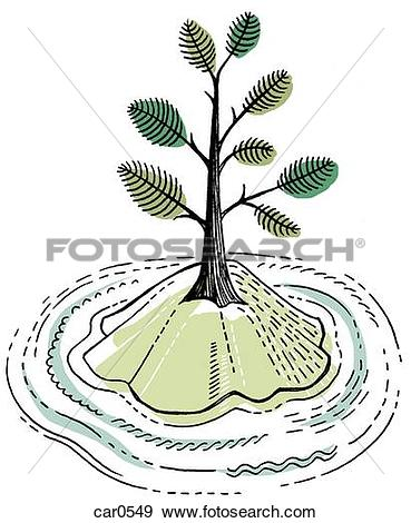 Stock Illustration of A tree on a small island surrounded by water.