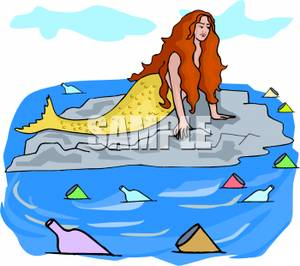 Mermaid Surrounded By Polluted Waters.