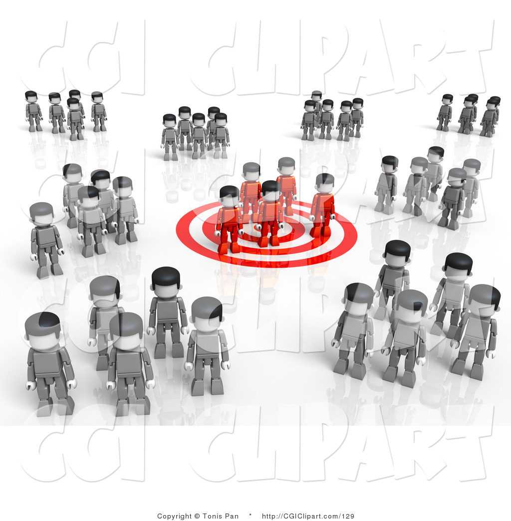 Clip Art of a 3d Red Group Standing on a Target, Surrounded by.