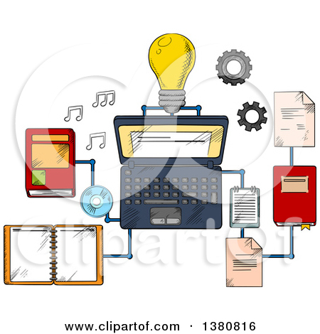 Clipart of Sketched Web Education or E.