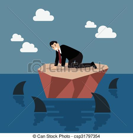 Clipart Vector of Helpless businessman on a small island which.