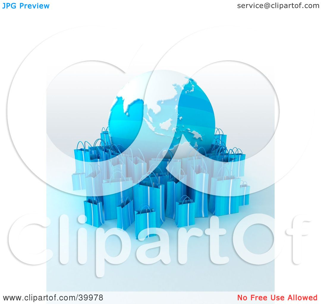 Clipart Illustration of a Globe Surrounded By Light Blue 3d.