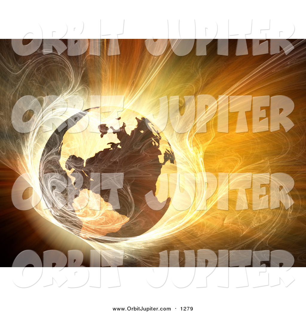 Illustration of a Hot 3d Globe Surrounded by Bright Fractal Light.