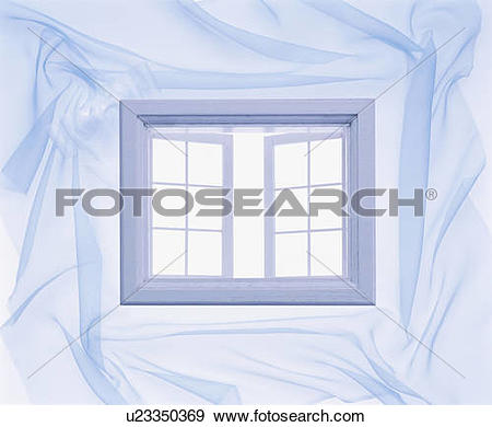 Stock Photograph of Window surrounded by light material u23350369.