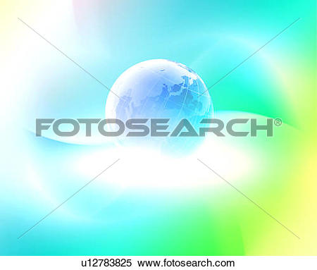 Stock Image of Planet earth surrounded by coloured light u12783825.