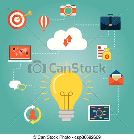 Clip Art Vector of Creative network concept. light bulb surrounded.