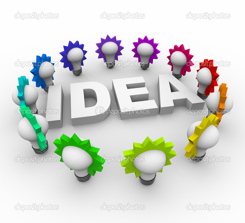 Idea Word Surrounded by Light Bulbs — Stock Photo © iqoncept #4440480.