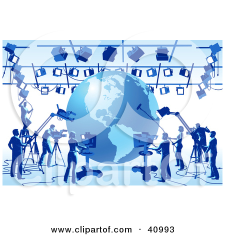 Clipart Illustration of a Globe Surrounded By Blue Silhouetted.