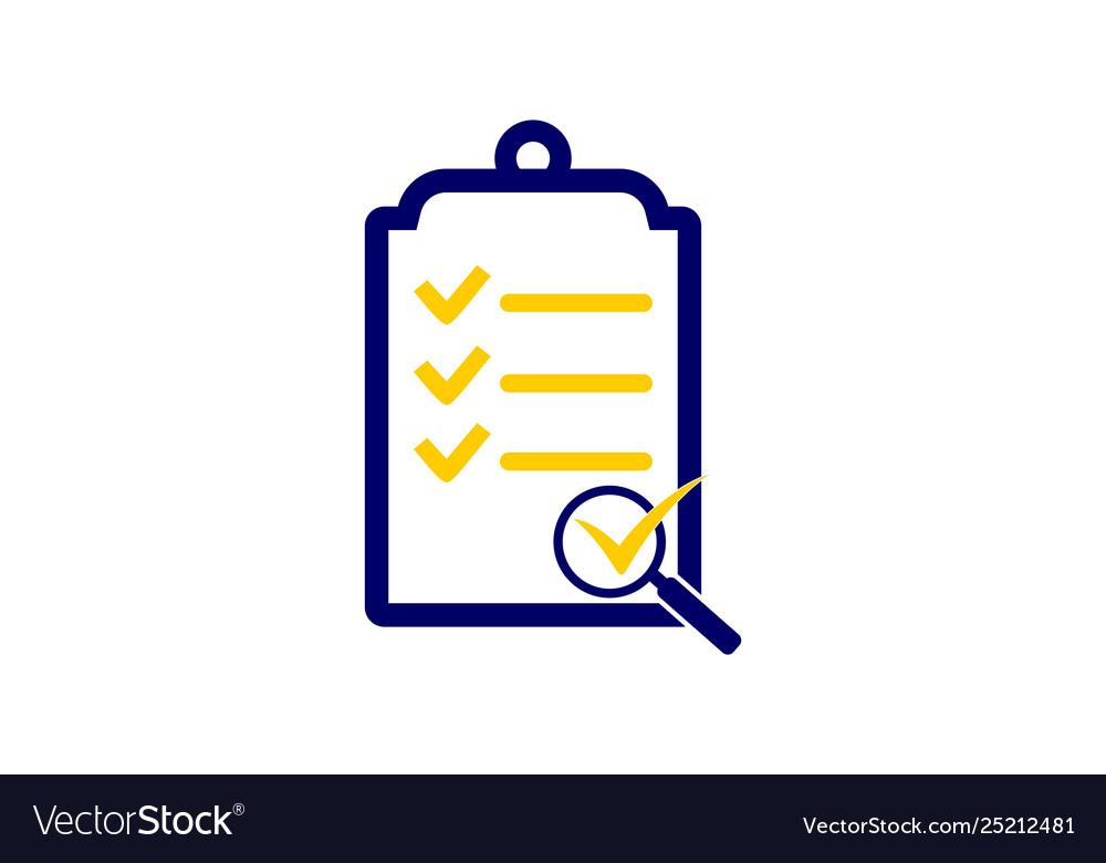 Survey check list icon logo.