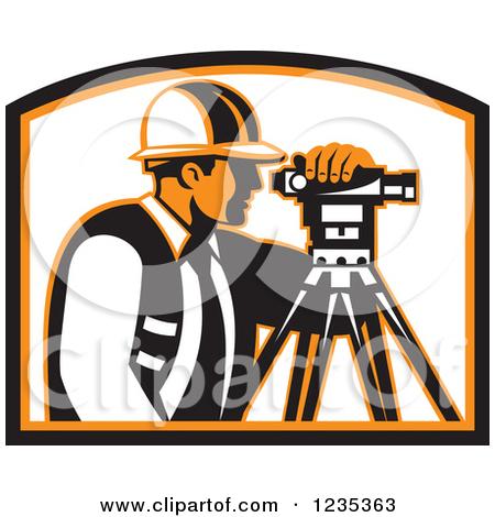 Clipart of a Retro Male Surveyor in a Shield.