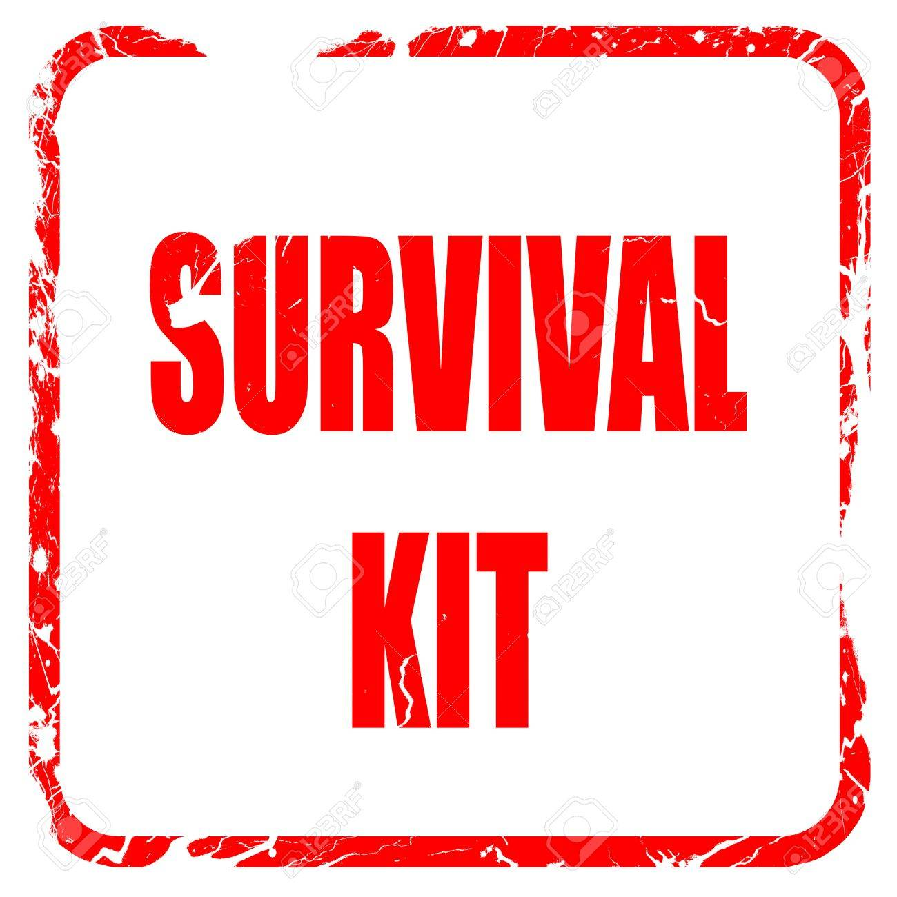 Survival kit sign, red rubber stamp with grunge edges.