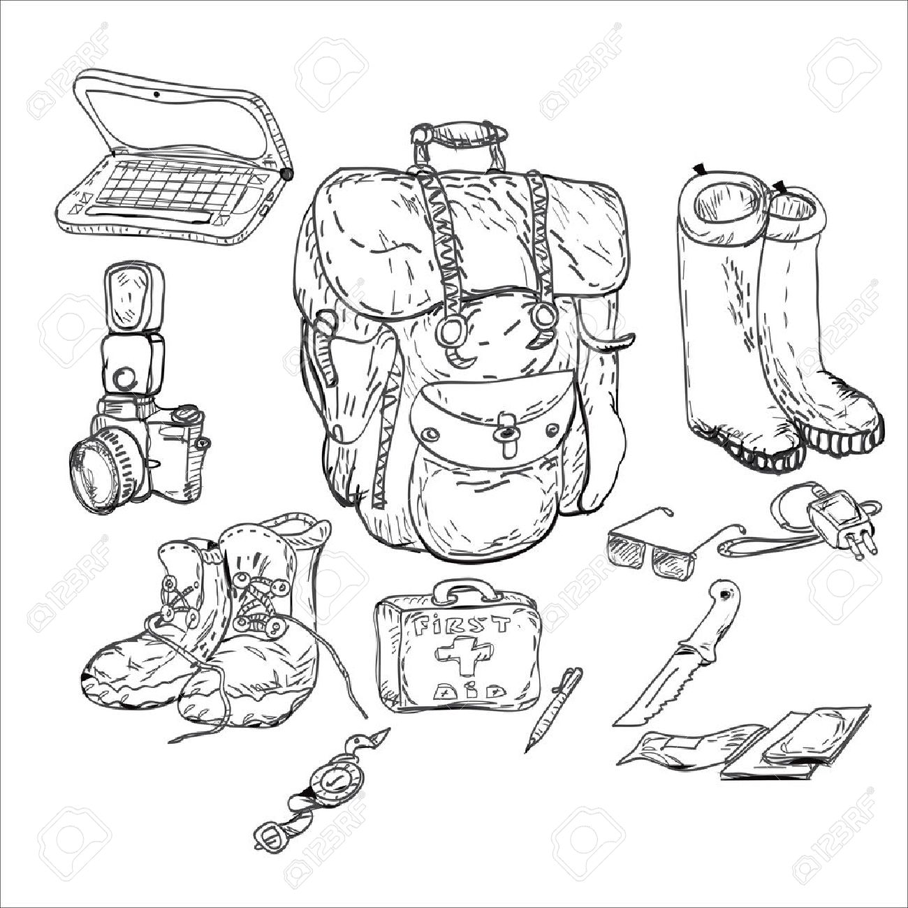 Survival Kit Clipart Black And White.