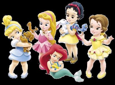 Clipart de Princesas Disney Niñas con sus Mascotas..