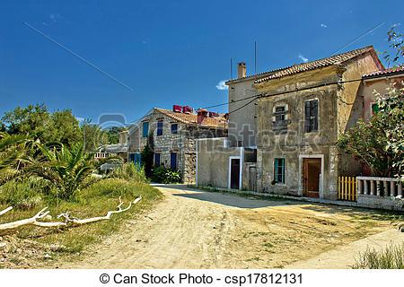 Stock Photos of Old streets of Susak island, Croatia csp17812131.