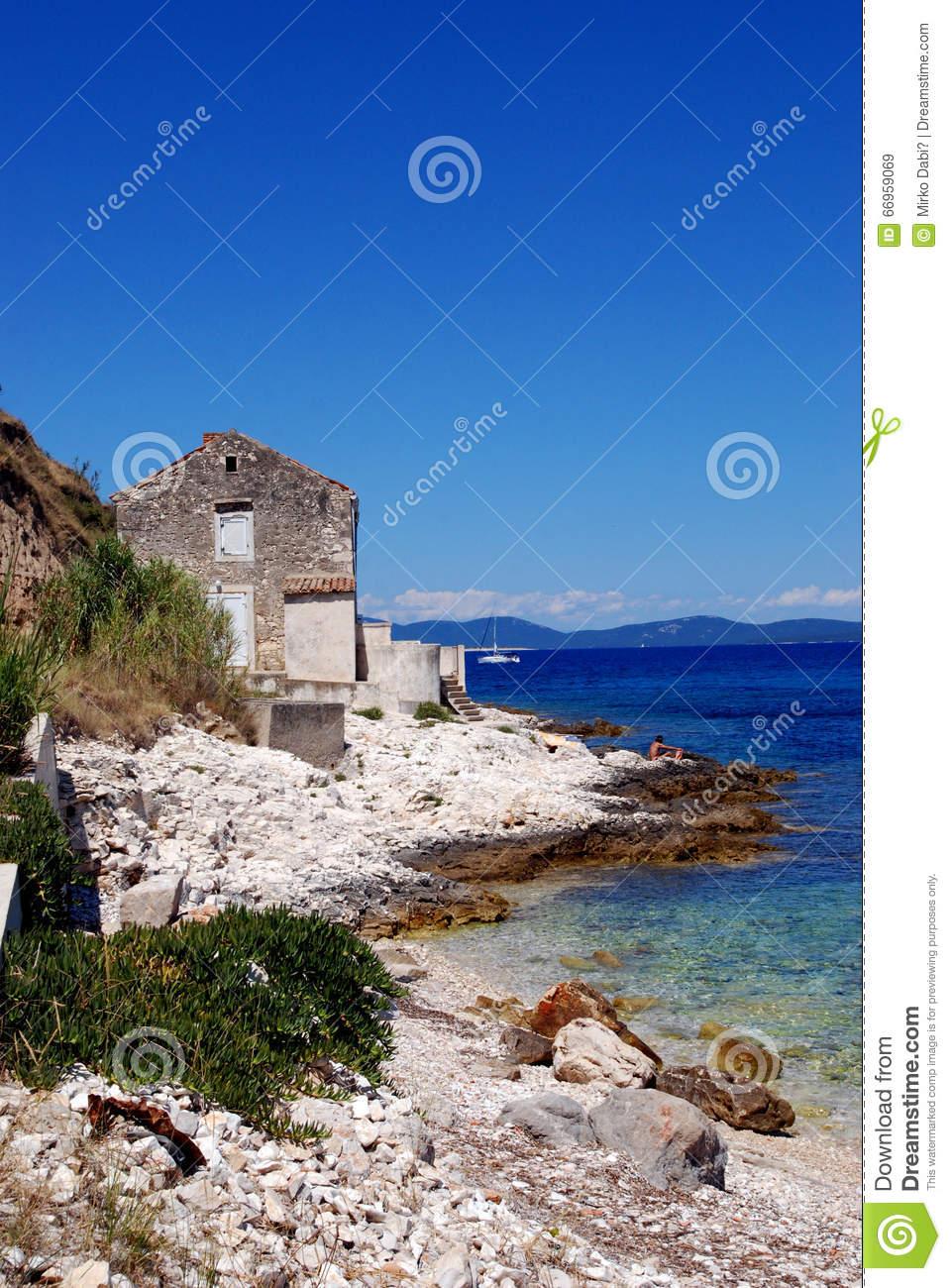 Fisherman's House At The Rocky Stone Beach In Island Susak,Croatia.