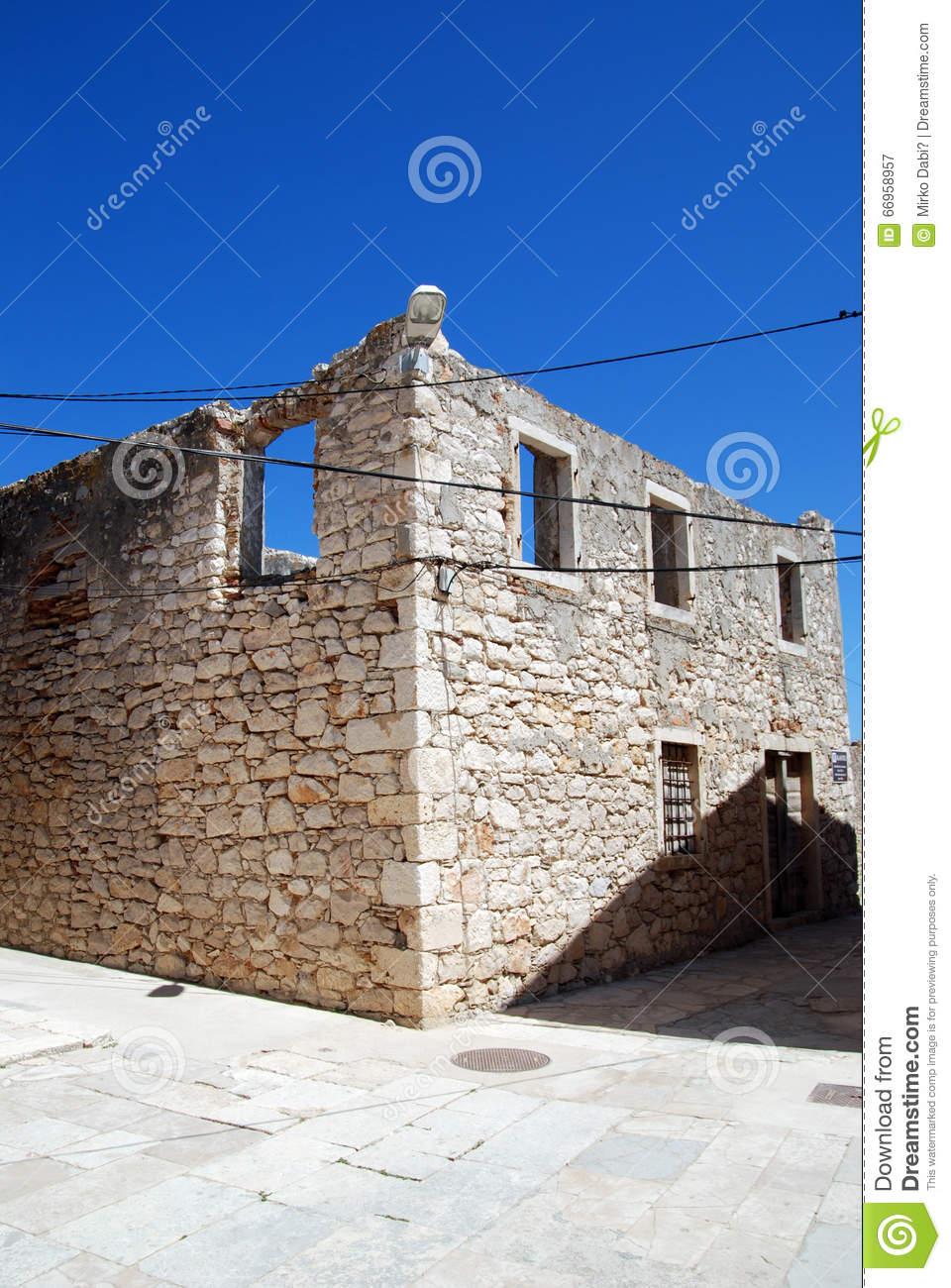 Abandoned Ruined House In Island Susak,Croatia Stock Photo.