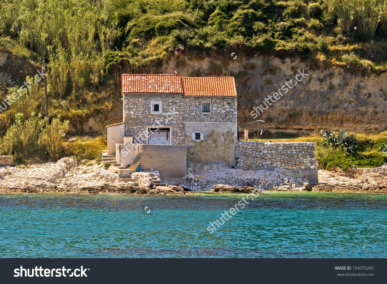 Stone House On Beach Dalmatian Island Stock Photo 104070245.
