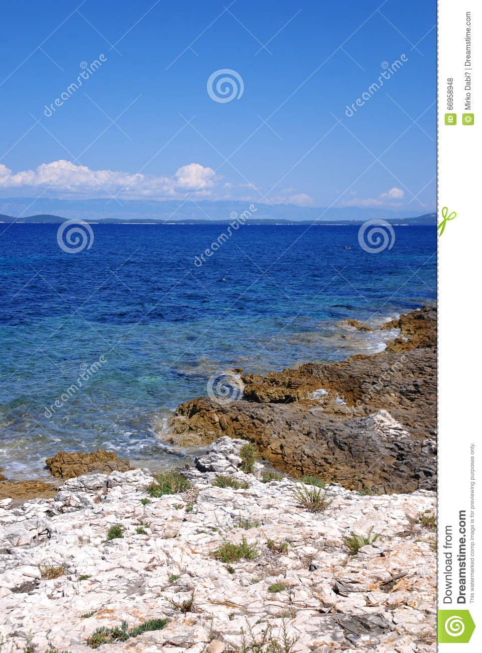 Rocky Stone Beach In Island Susak,Croatia Stock Photo.