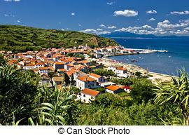 Stock Photos of Sandy island of Susak harbor, Dalmatia, Croatia.