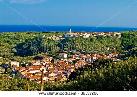 Mediterranean Town And Amazing Green Landscape, Island Of Susak.