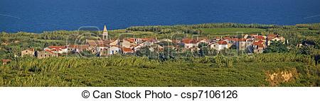Stock Illustration of Mediterranean village on Island of Susak.