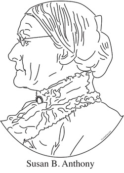 Susan B. Anthony Realistic Clip Art, Coloring Page and Poster.