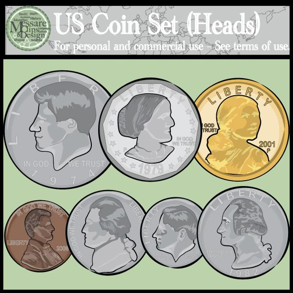 US Coins Clipart Set Heads & Tails {Messare Clips and Design.