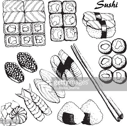 Black and white illustrations of sushi Clipart Image.