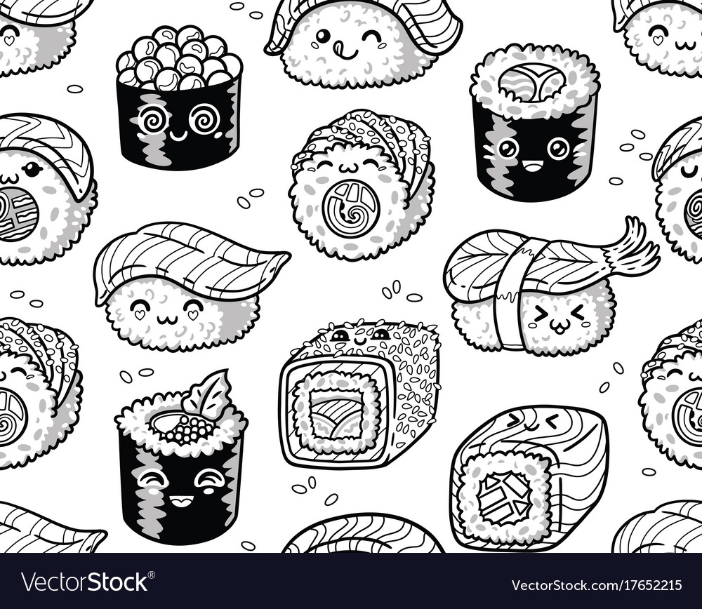 Black and white sushi and sashimi seamless pattern.