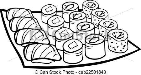 Sushi Clipart Black And White.