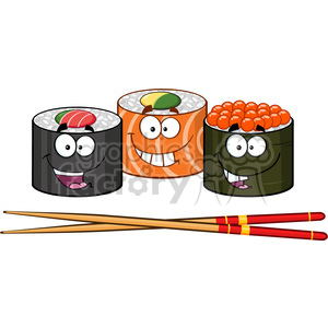 illustration sushi roll set cartoon characters with chopsticks vector  illustration clipart. Royalty.