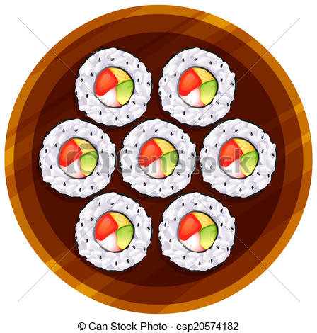 Vector of A topview of the sushi at the table.