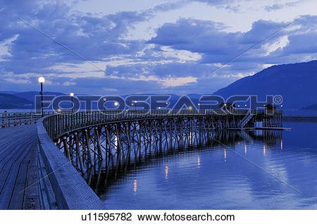 Stock Photo of Salmon Arm wharf, the longest wooden pier in North.