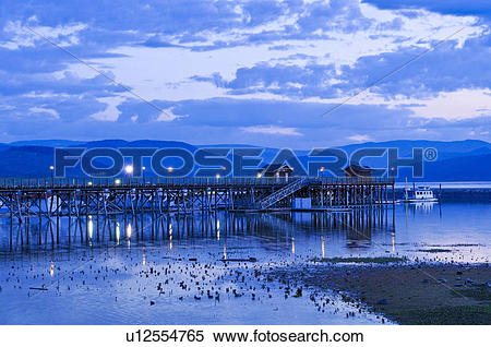 Stock Image of Salmon Arm wharf, the longest wooden pier in North.