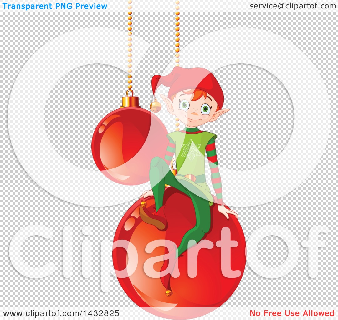 Clipart of a Christmas Elf on Suspended Red Bauble Ornaments.