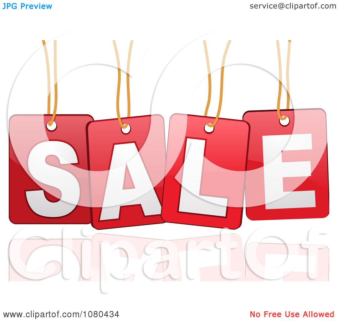 Clipart 3d Suspended SALE Sign In Red With A Reflection.