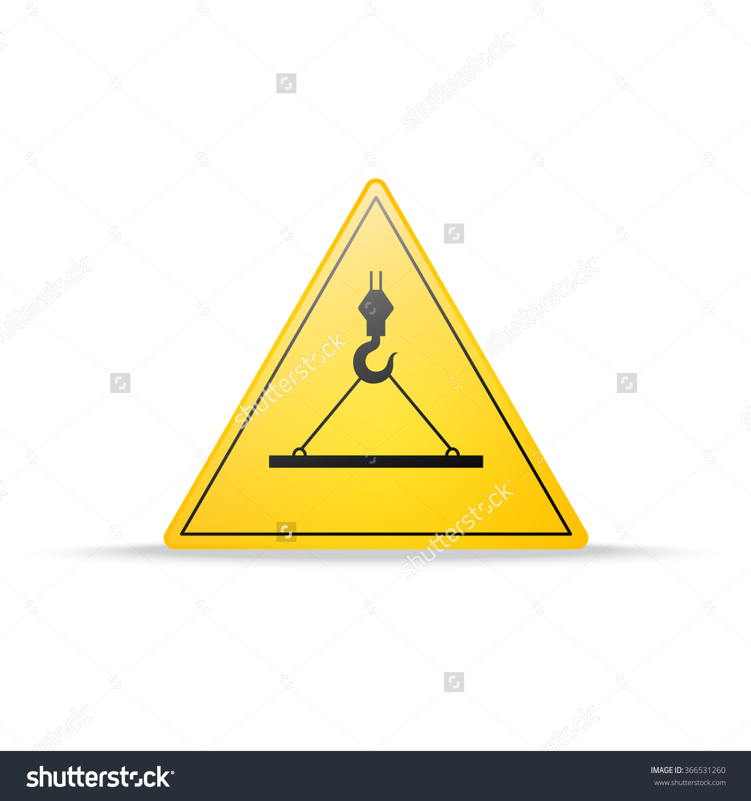 Warning Sign Crane Hazard Suspended Load Stock Vector 366531260.