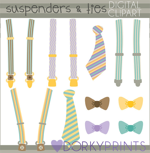 Suspenders and Ties Clipart Set.