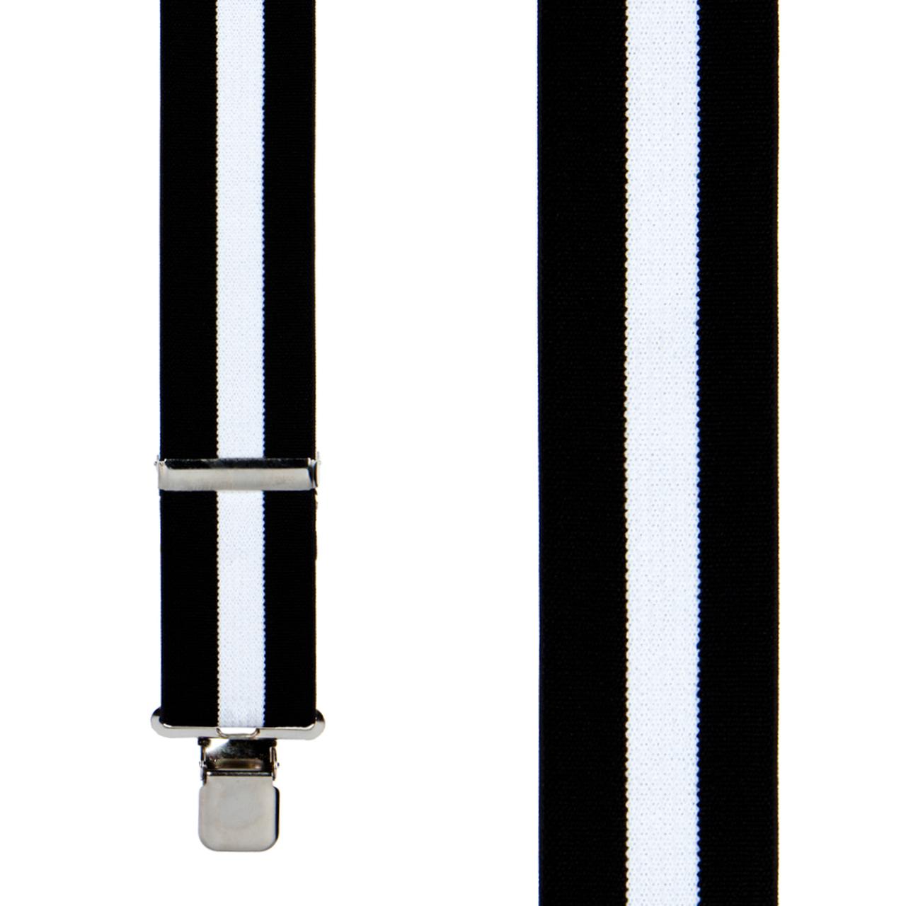 Black/White Striped Clip Suspenders.