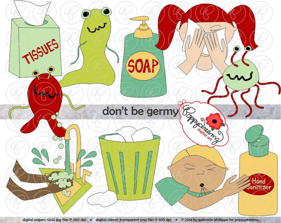 Don't Be Germy Clip Art Pack 300 dpi Digital Images by poppydreamz.