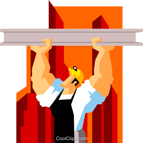 construction worker suspending beam Royalty Free Vector Clip Art.